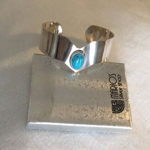 Jewelry - Stamped silver cuff bracelet with turquoise stone